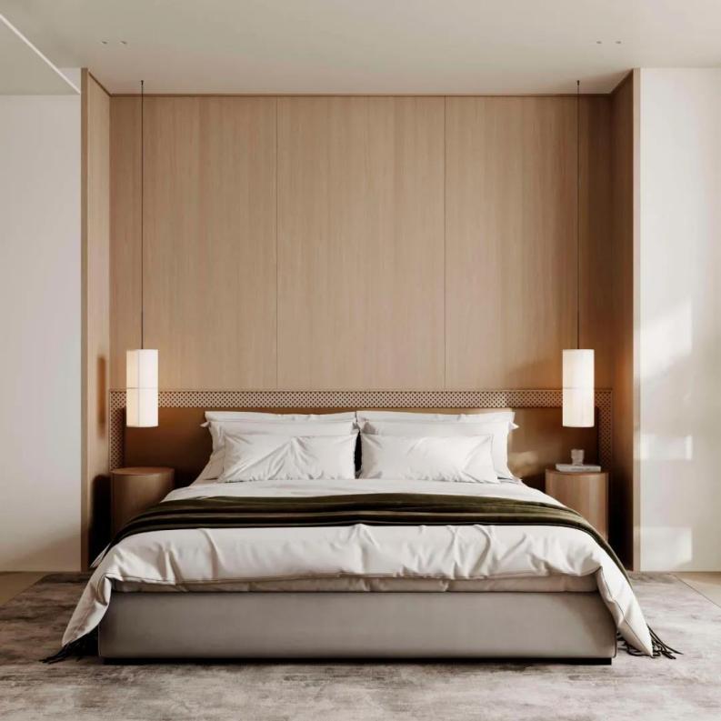 金属板覆膜(木纹)床头